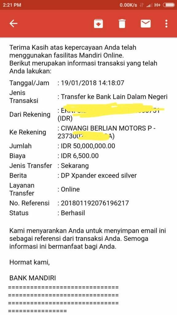 Sangat kecewa Pelayanan PT Ciwangi Berlian Motor Pondok Indah
