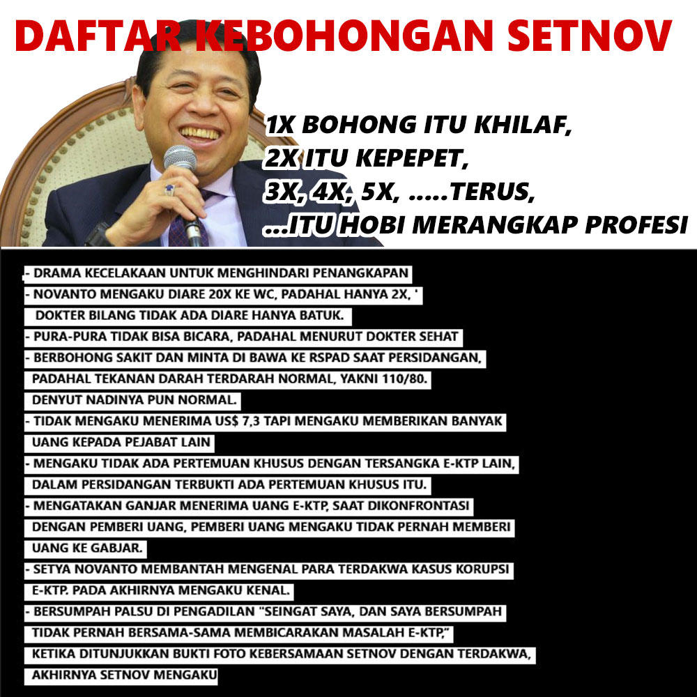 Daftar Kebohongan Setya Novanto