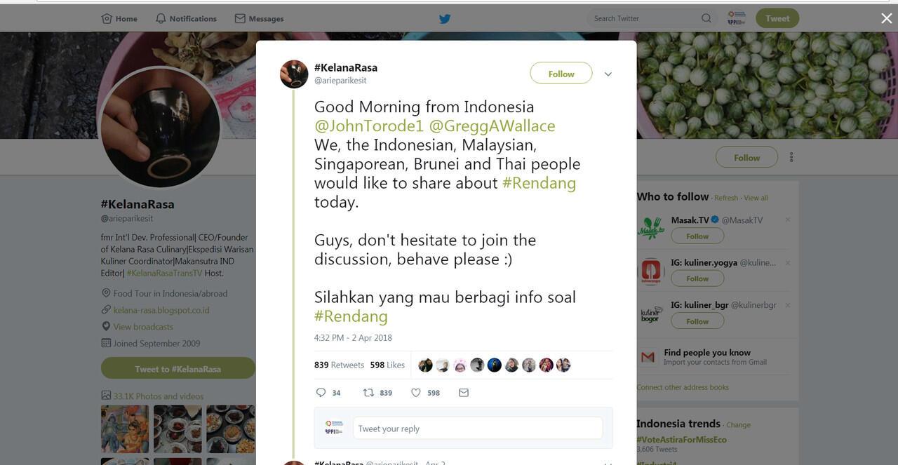 "Malaysia dan Indonesia Bersatu Gara-gara ""Chicken Rendang"""