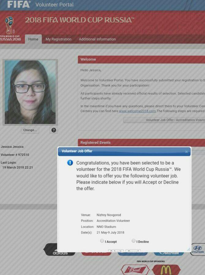 Jessica, Volunteer Asal Indonesia untuk Piala Dunia di Rusia