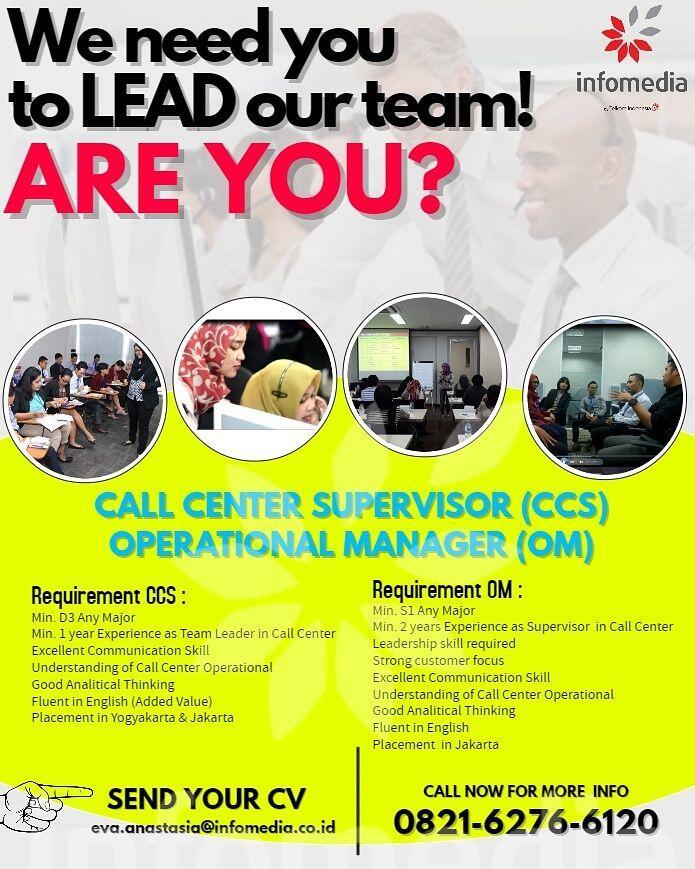 Loker Spv Call Center & Operational Mgr by Infomedia Nusantara