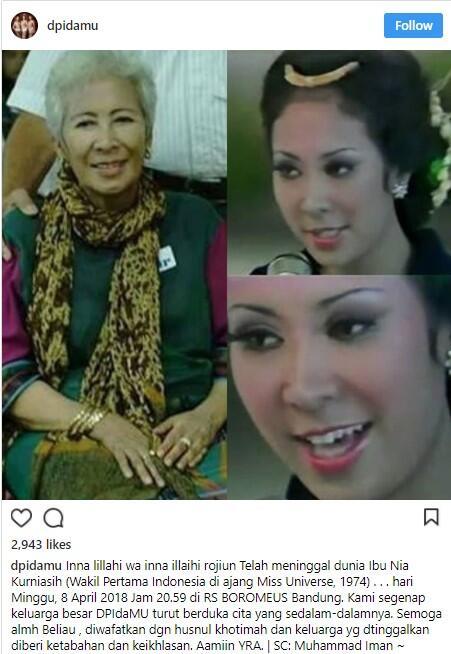 Wakil Pertama Indonesia di Ajang Miss Universe Tutup Usia