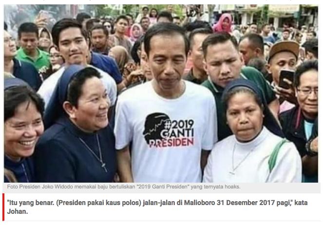 Viral Foto Jokowi Pakai Baju '2019 Ganti Presiden', Istana: Hoaks