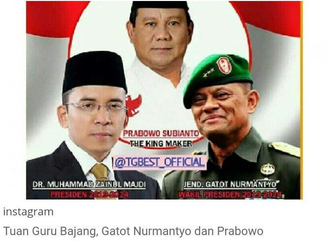 Beredar Foto Gatot Nurmantyo Jadi Bakal Capres RI Bersama Gubernur NTB, Tuan Guru