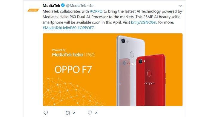 OPPO Konfirmasi F7 Menggunakan Prosesor Mediatek P60 di Indonesia