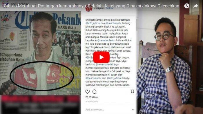 Gibran Membuat Postingan Kemarahannya, Setelah Jaket yang Dipakai Jokowi Dilecehkan