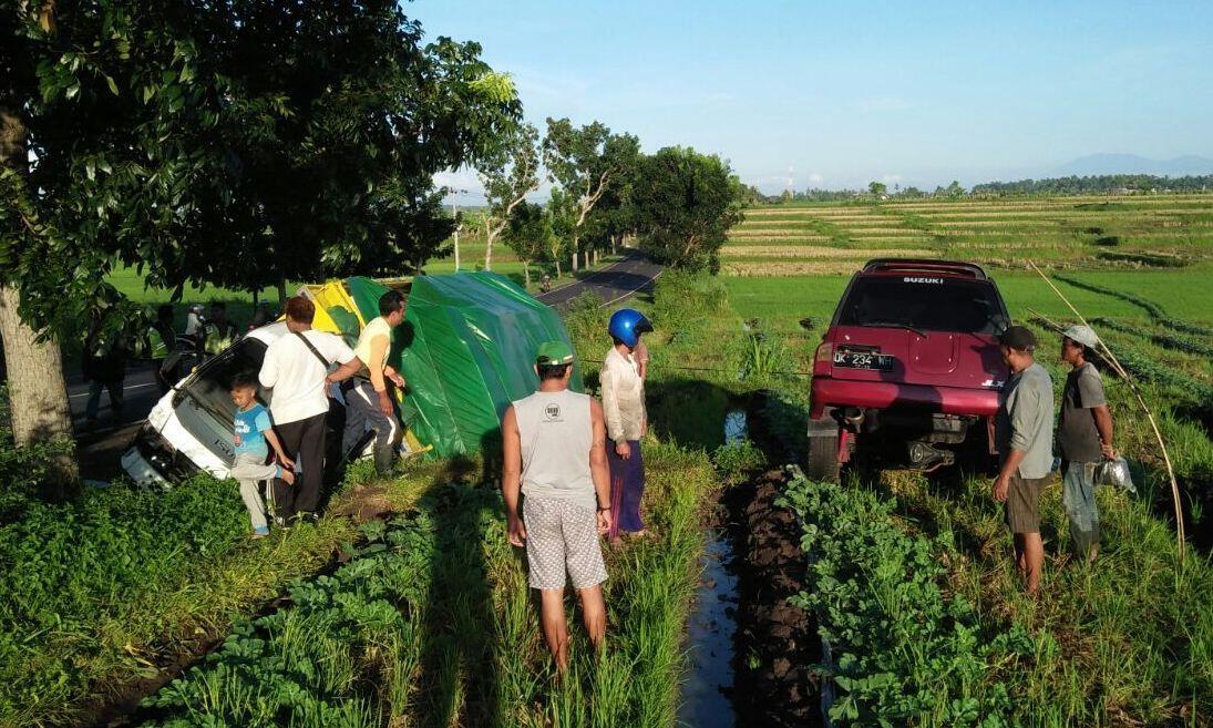 Minibus Terperosok ke Sawah Dekat Jalur Denpasar-Gilimanuk