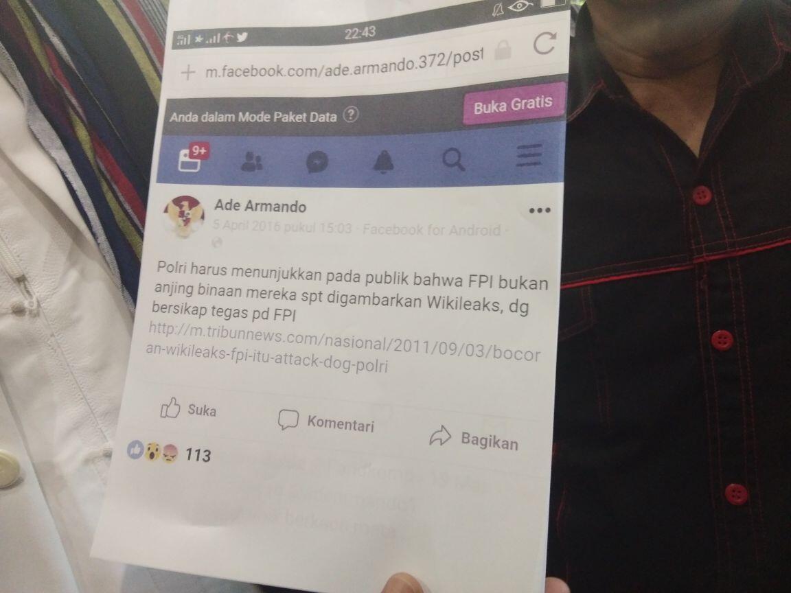 Lagi-lagi Ade Armando Dilaporkan FPI ke Polisi, Kali Ini Soal Apa?