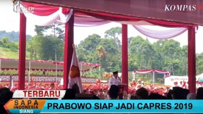 Prabowo Subianto Nyatakan Siap Jadi Capres 2019 di Rakornas Gerindra