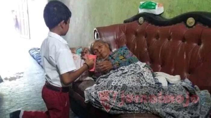 Kisah Helmy Prayoga, Siswa Kelas 2 SD Merawat Neneknya yang Sakit Seorang Diri