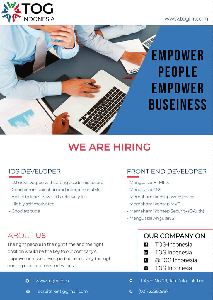 Lowongan kerja IT (IOS DEVELOPER & FRONT END DEVELOPER)
