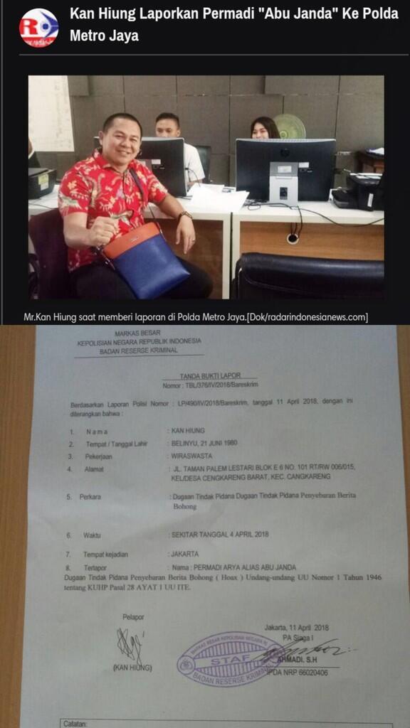 Tebar Berita Hoax Soal Hutang Luar Negeri RI,Permadi arya abujanda Dipolisikan