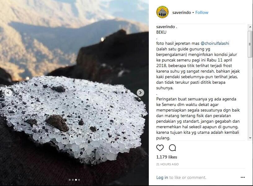 Viral Es di Puncak Gunung Semeru, Pendaki Diminta Perkuat Fisik