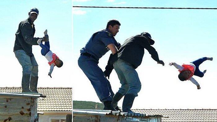 Detik-detik Momen Horor Ayah Lemparkan Anaknya dari Atap Rumah, Simak Endingnya