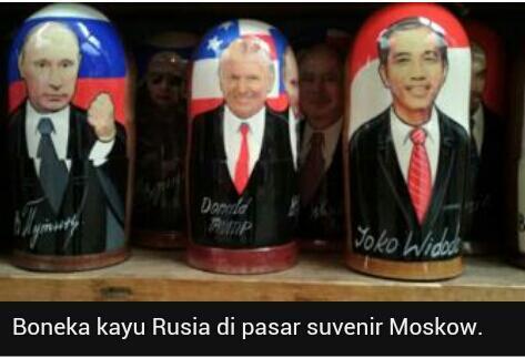 Jokowi 'bersebelahan' dengan Trump dan Putin di pasar Rusia dalam bentuk matryoshka