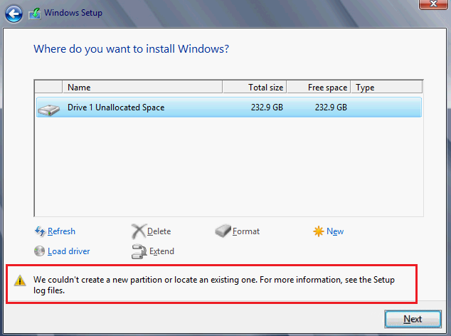 """100% Fix Error """"We Couldn't Create a New Partition"""" on Windows"""