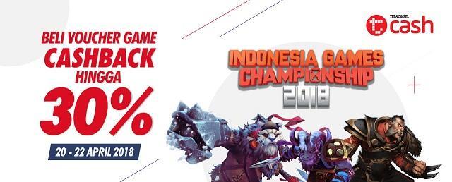 Promo IGC 2018, Pembelian Voucher Game Lewat TCASH Dapet Cashback, Gan!