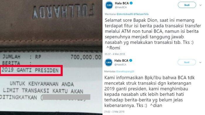 Heboh Unggahan Mustofa Soal Struk Transaksi ATM, Admin BCA Berikan Konfirmasi