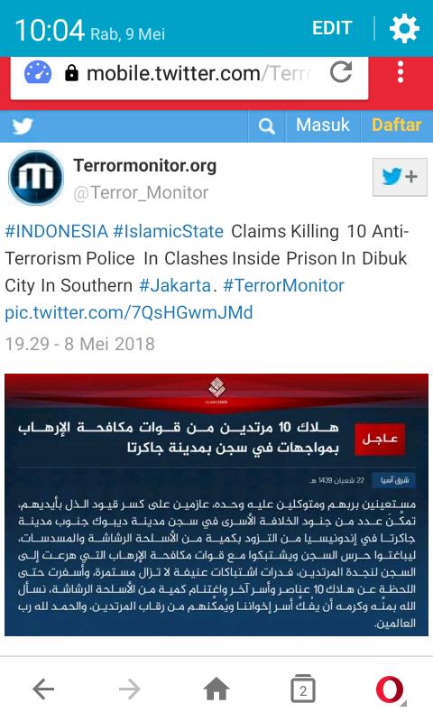 ISIS terlibat di kerusuhan mako brimob?