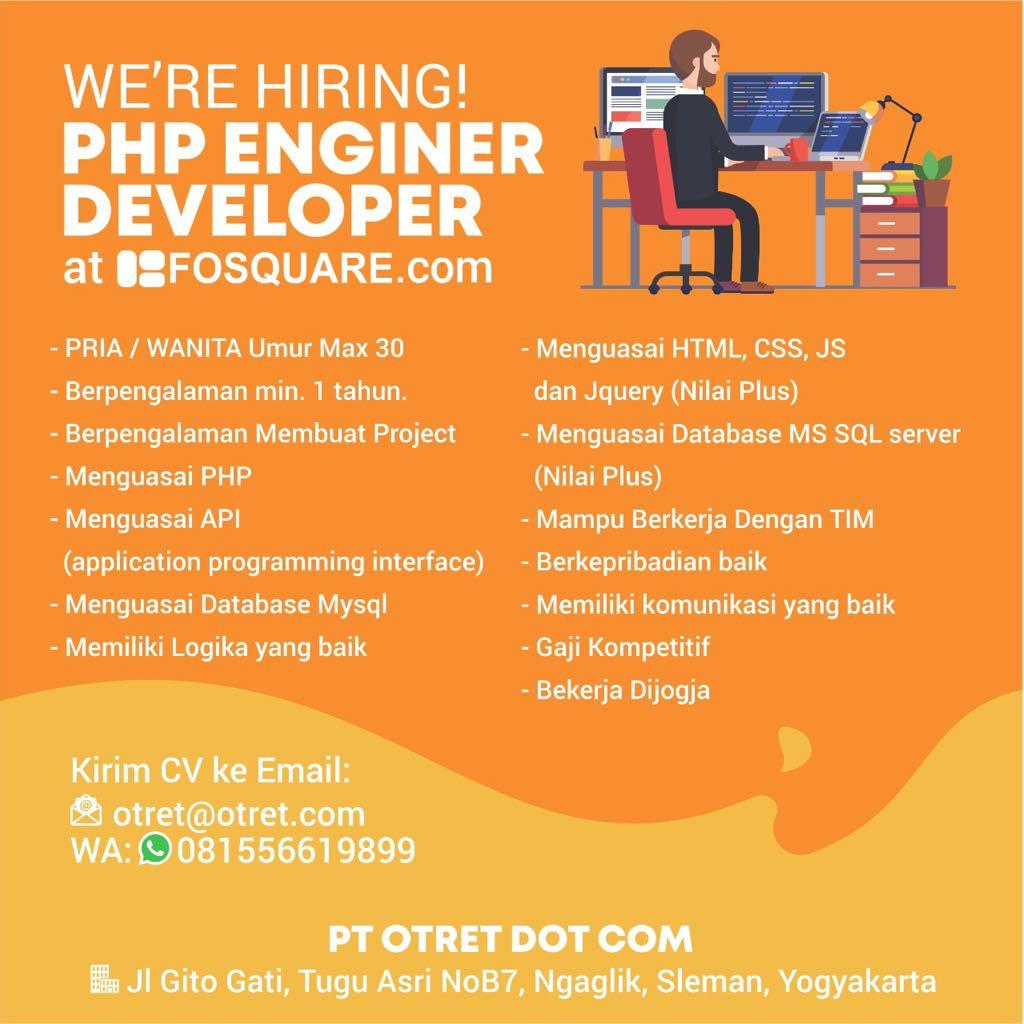 Lowongan PHP ENGINER AT Yogyakarta