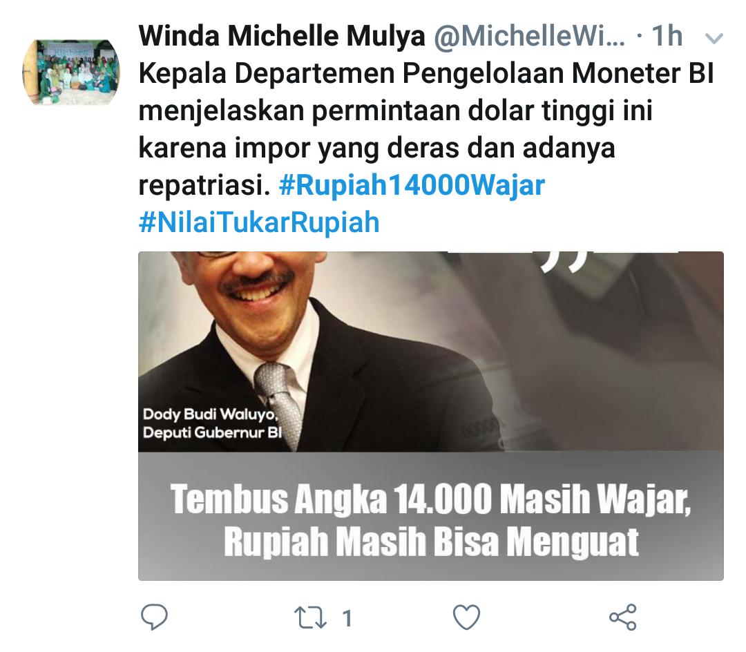 Dolar Rp 14.000, Muncul #Rupiah14000Wajar