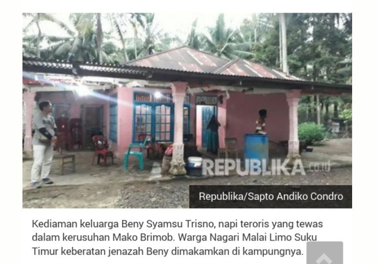Tokoh Adat Minang Keberatan Napiter Dimakamkan di Kampungnya
