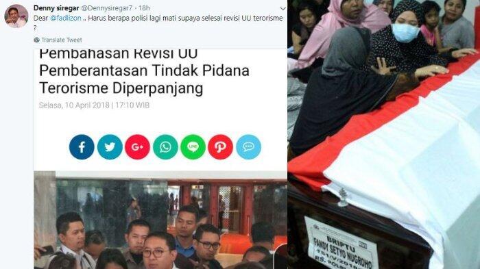 Denny Siregar: Dear Fadli Zon, Harus Berapa Polisi Lagi Mati Supaya Selesai Revisi UU