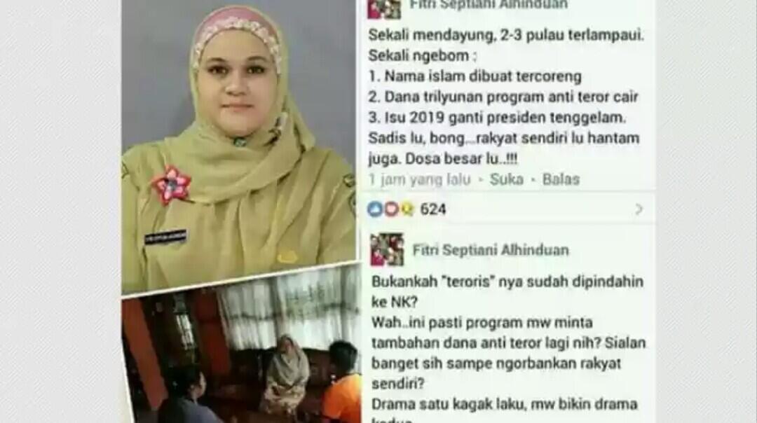 Sebut Bom Surabaya Rekayasa, Akun Facebook Seorang Oknum Kepala Sekolah Dicekal Polis