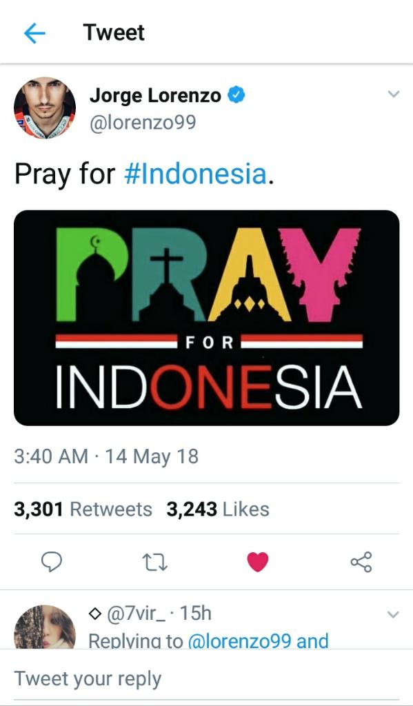 Jorge Lorenzo Juga Ucapkan Bela Sungkawa untuk Surabaya