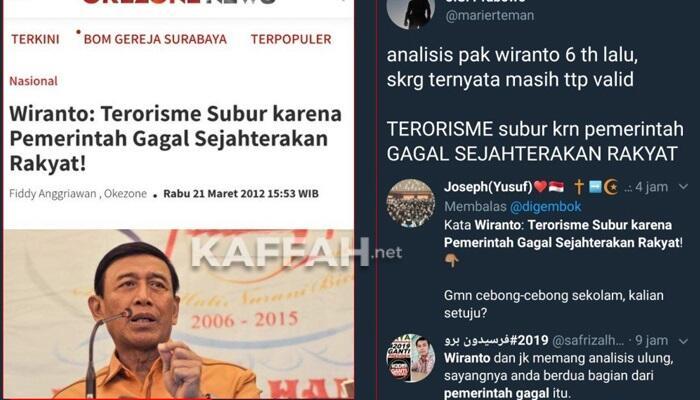 Wiranto : Terorisme Subur Karena Pemerintah Gagal Sejahterakan Rakyat!