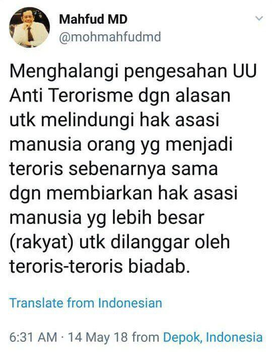 Mahfud MD: Politisi Tak Boleh Menghalangi Pengesahan UU Antiterorisme