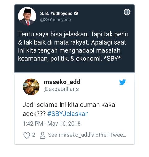 Cuitan SBY Tanggapi Pernyataan Jokowi Dijadikan Meme #SBYJelaskan oleh Netizen