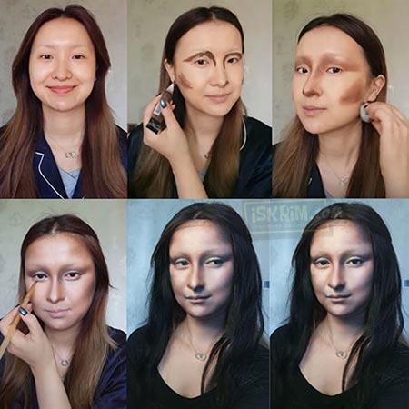 Kreatif, Wanita Ini Memoles Wajahnya Menjadi Sangat Mirip Monalisa Dan Viral