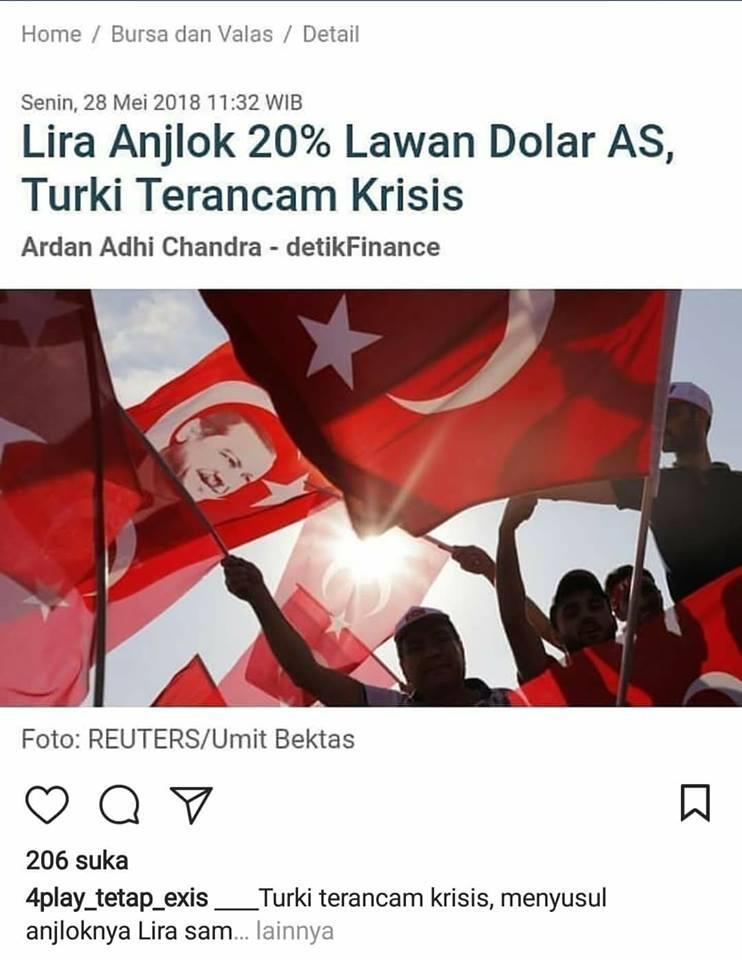 LIRA ANJLOK 20% LAWAN DOLLAR AS, TURKI TERANCAM KRISIS.