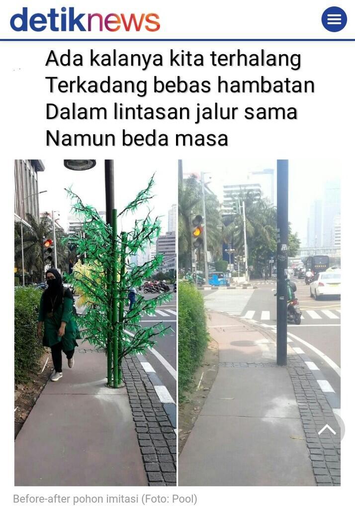 Pohon Palsu, Tanaman Plastik, Tumbuhan Imitasi, Perlukah Di Trotoar Jakarta ?