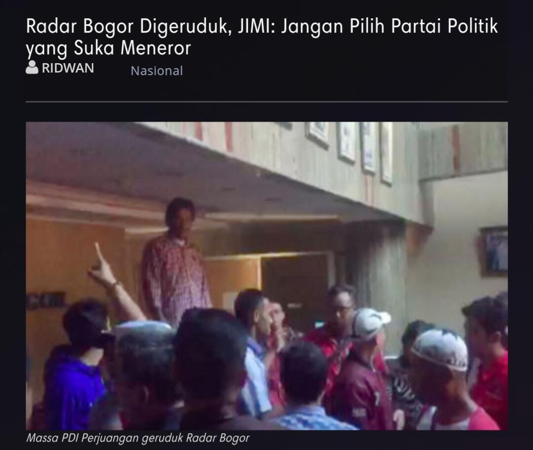 Radar Bogor Digeruduk, JIMI: Jangan Pilih Partai Politik yang Suka Meneror