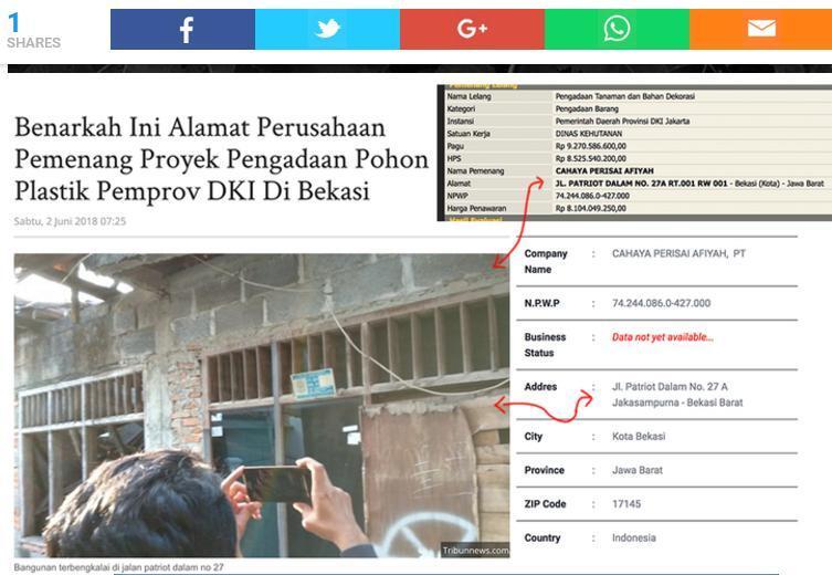 Menelusuri Pemenang Proyek DKI Di Bekasi, Lokasi Perusahaan Pemenang Tender Kosong