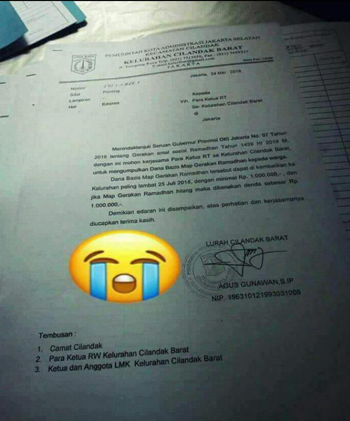 Lurah Cilandak Barat Benarkan RT Diminta Kumpulkan Zakat Minimal Rp 1 Juta