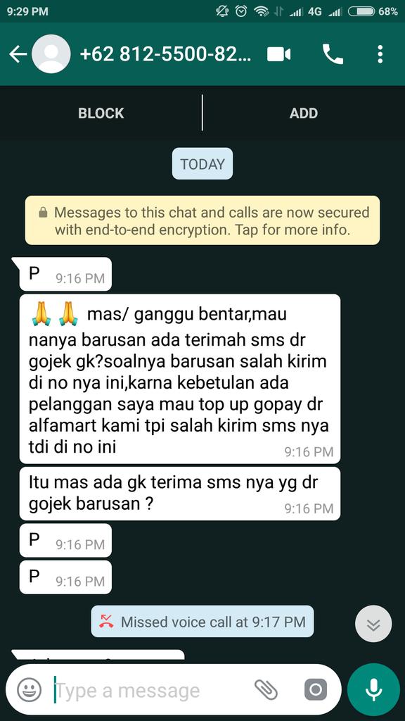 Hati-hati penipuan minta password login Akun GO-JEK!!