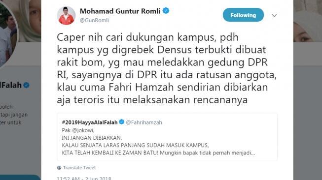 Caleg PSI Mau Biarkan Teroris Ledakkan DPR Bersama Fahri Hamzah