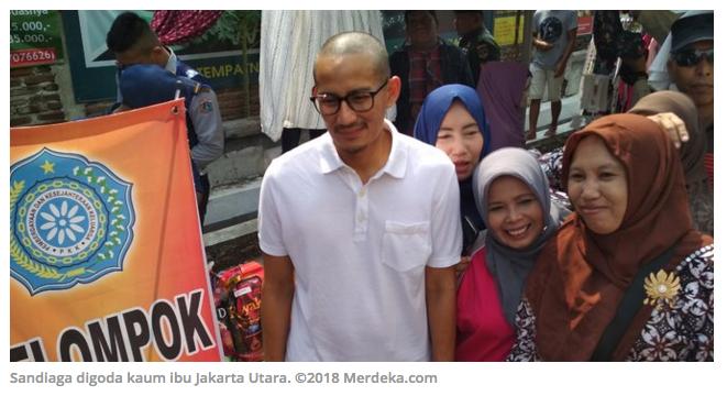 Saat Sandiaga digoda kaum ibu Jakarta Utara: Ganteng nengok sini dong