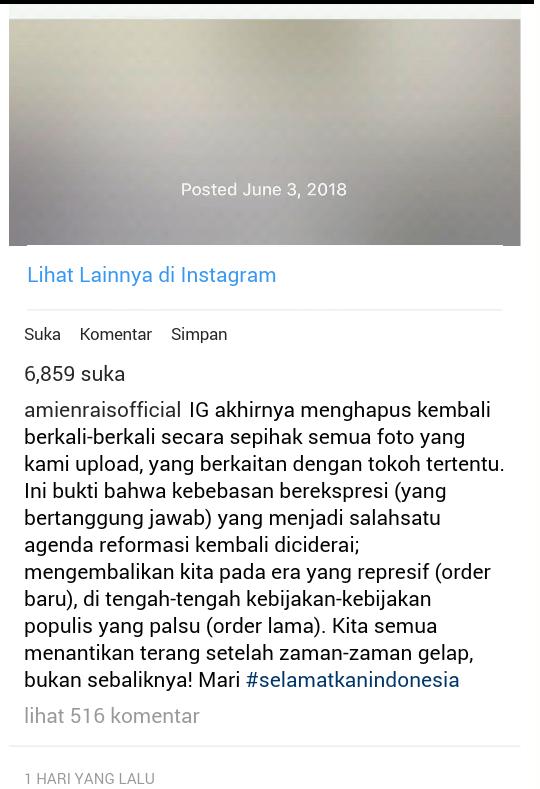 Penghapusan Foto Instagram Pertemuan Amien Rais, Prabowo, Rizieq Shihab: Benarkah Ber