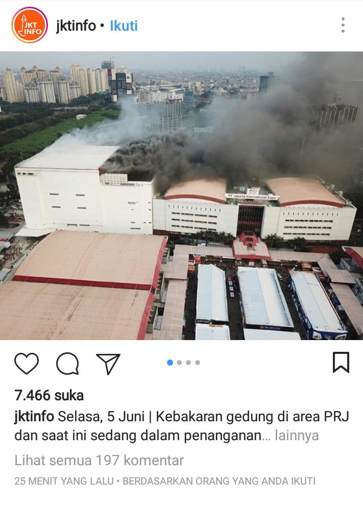 Jelang Buka Puasa, Gedung PRJ Kemayoran Kebakaran