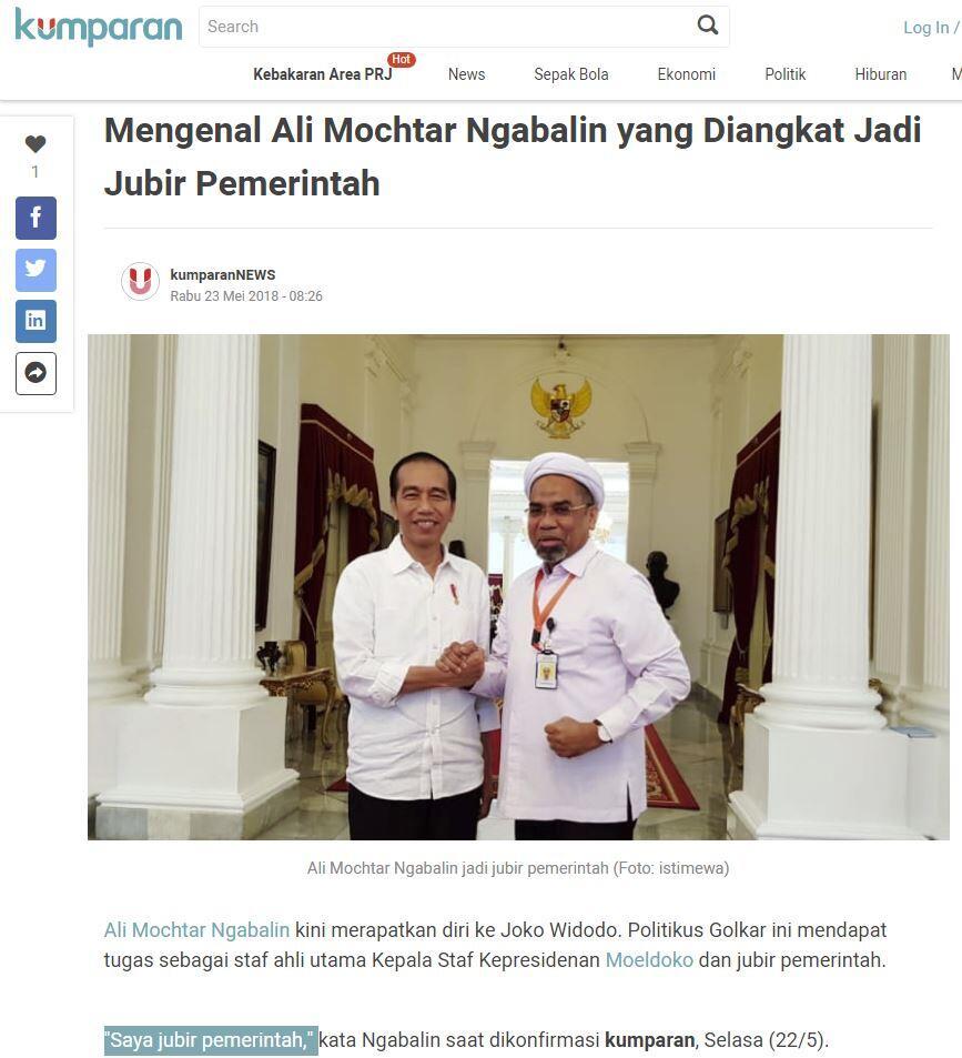 Jejak Ngabalin, Hina Jokowi Kerempeng dan Dekat Rizieq Shihab