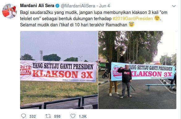 Mardani PKS: Klakson Mudik #2019GantiPresiden Pendidikan Politik