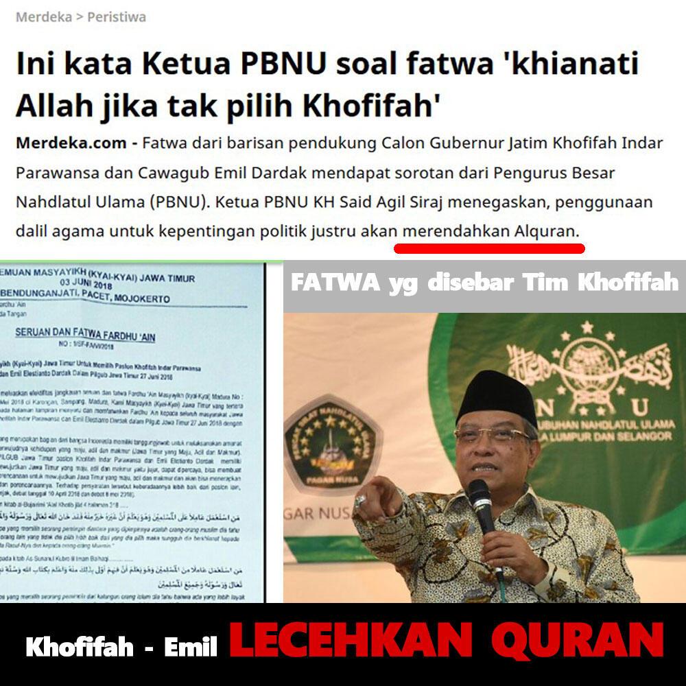 Ini kata Ketua PBNU soal fatwa 'khianati Allah jika tak pilih Khofifah'
