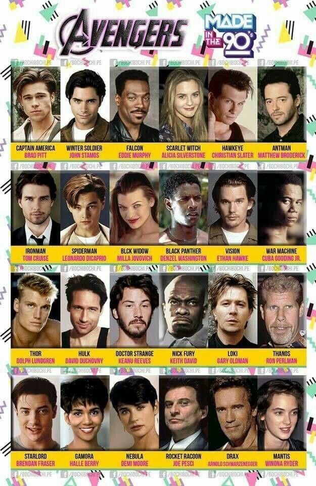 Inilah Deretan Aktor Pemeran Film The Avengers Jika Dibuat Pada Tahun 90an