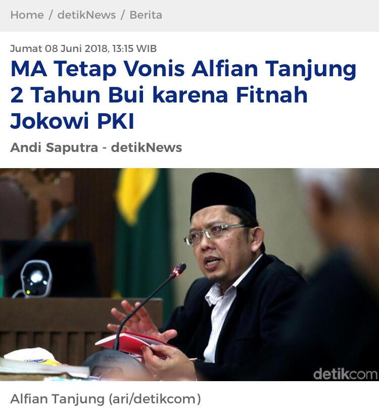 MA Tetap Vonis Alfian Tanjung 2 Tahun Bui karena Fitnah Jokowi PKI