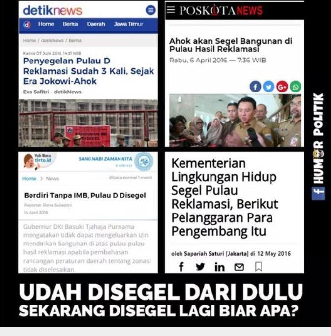 Penyegelan Pulau D Reklamasi Sudah 3 Kali, Sejak Era Jokowi-Ahok