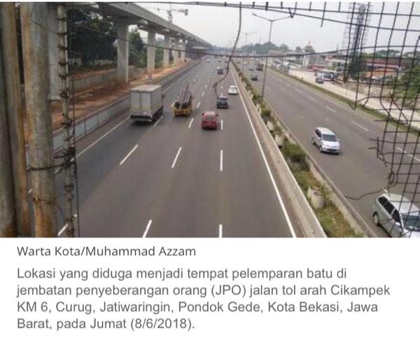 Polres Bekasi Buru Pelaku Pelemparan Batu di Jalan Tol Jakarta-Cikampek